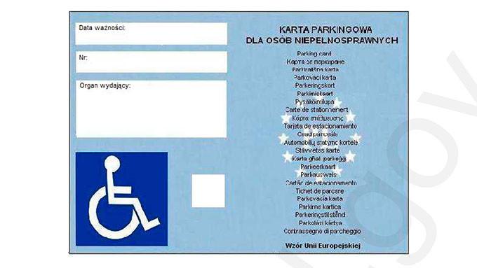 wzór karty parkingowej