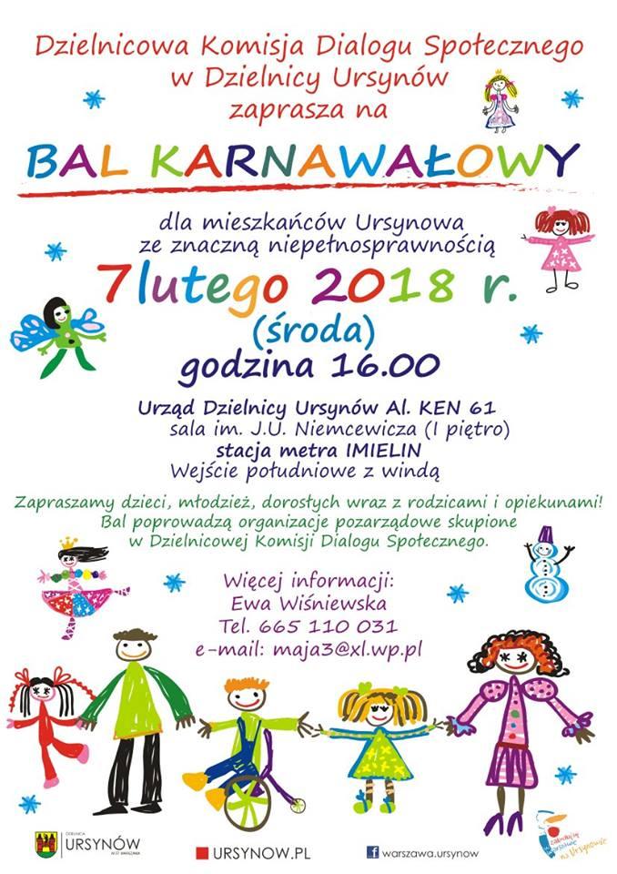 Zaproszenie na bal karnawałowy dla osób niepełnosprawnych