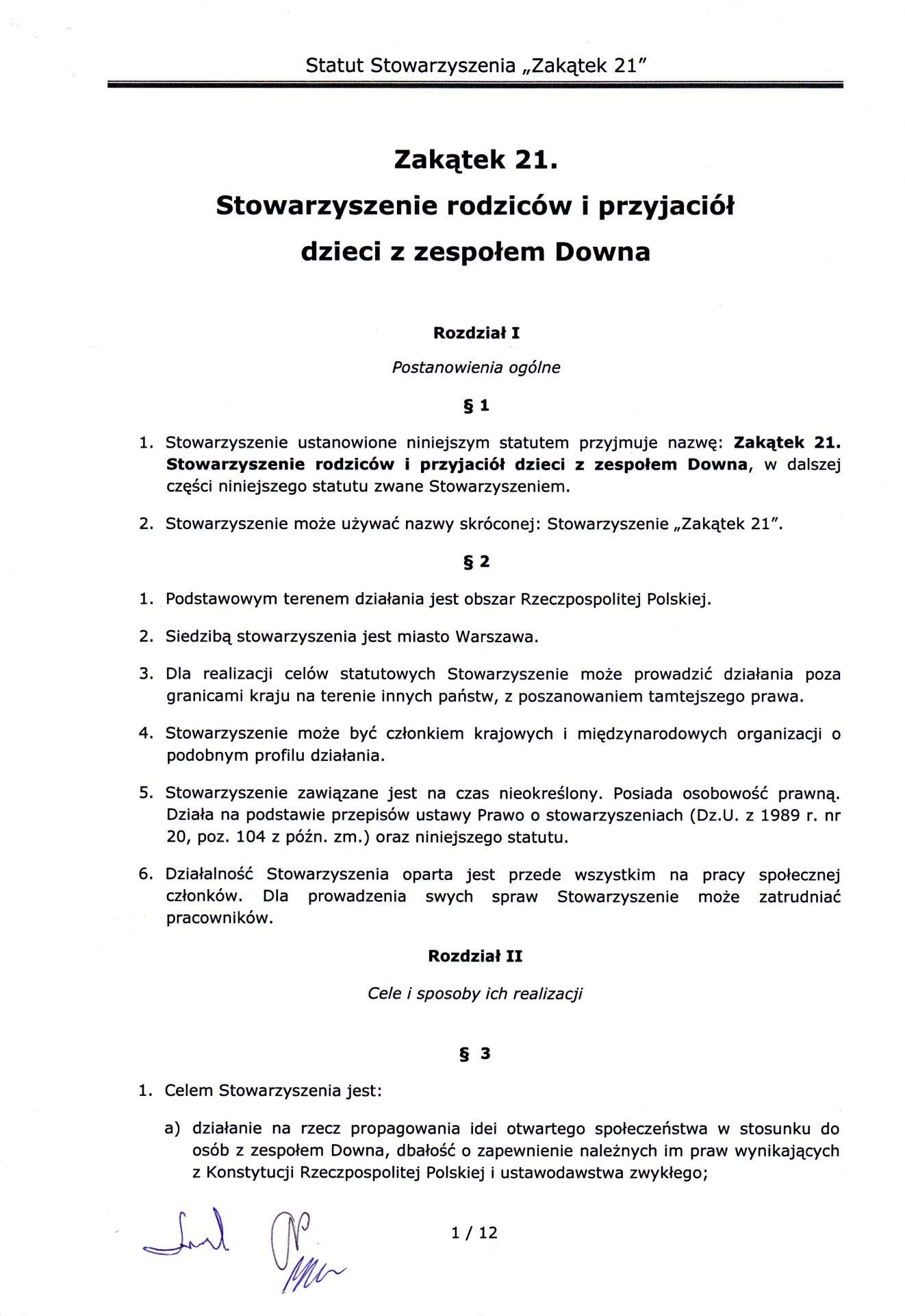 strona pierwsza statutu