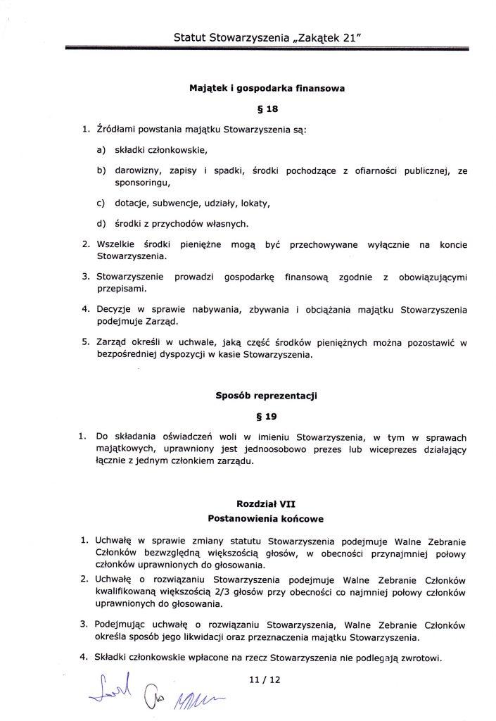 strona jedenasta statutu