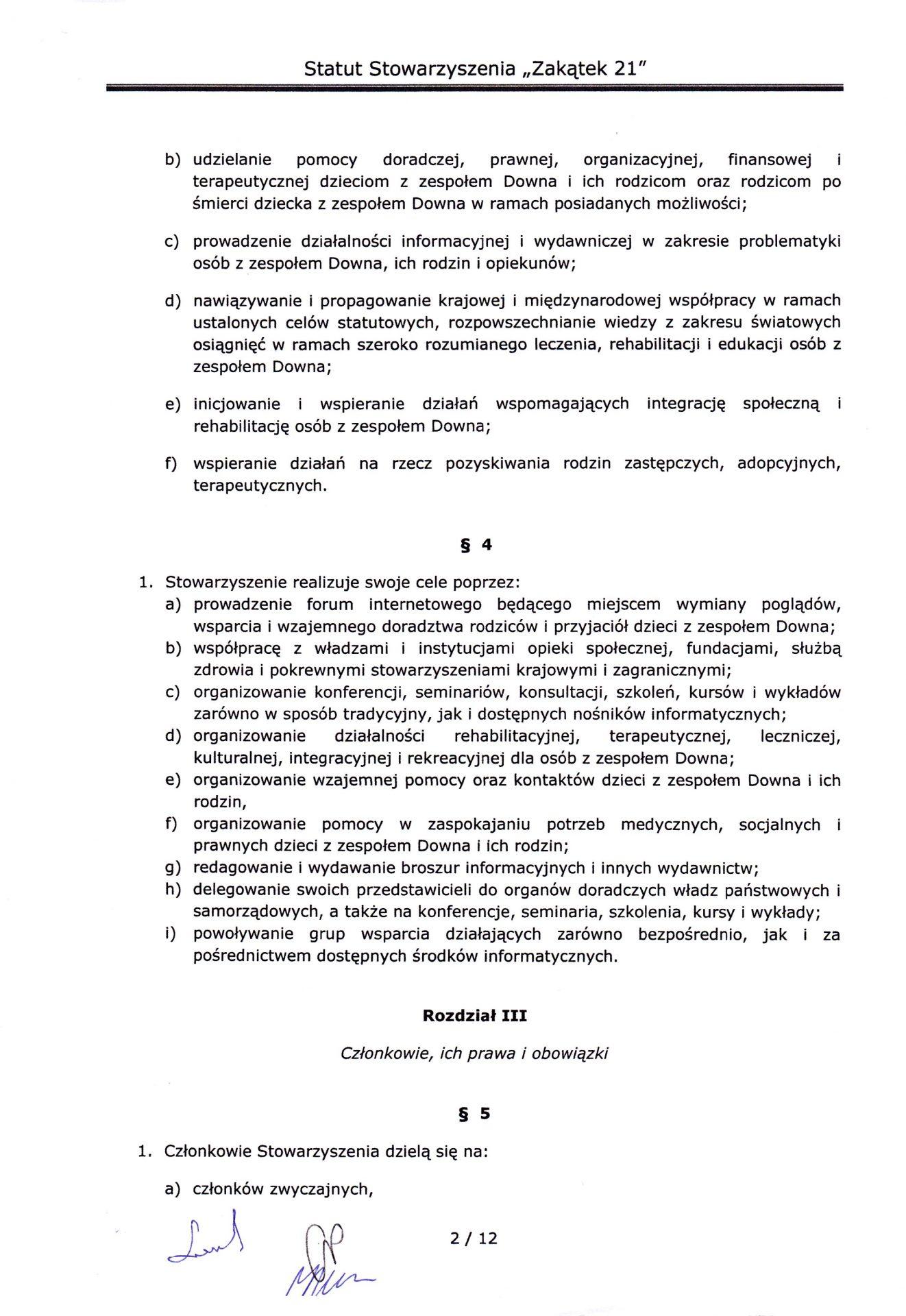 strona druga statutu