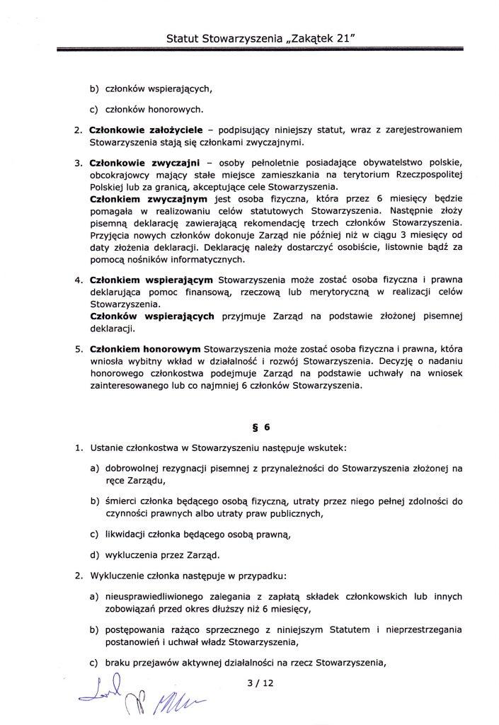 strona trzecia statutu