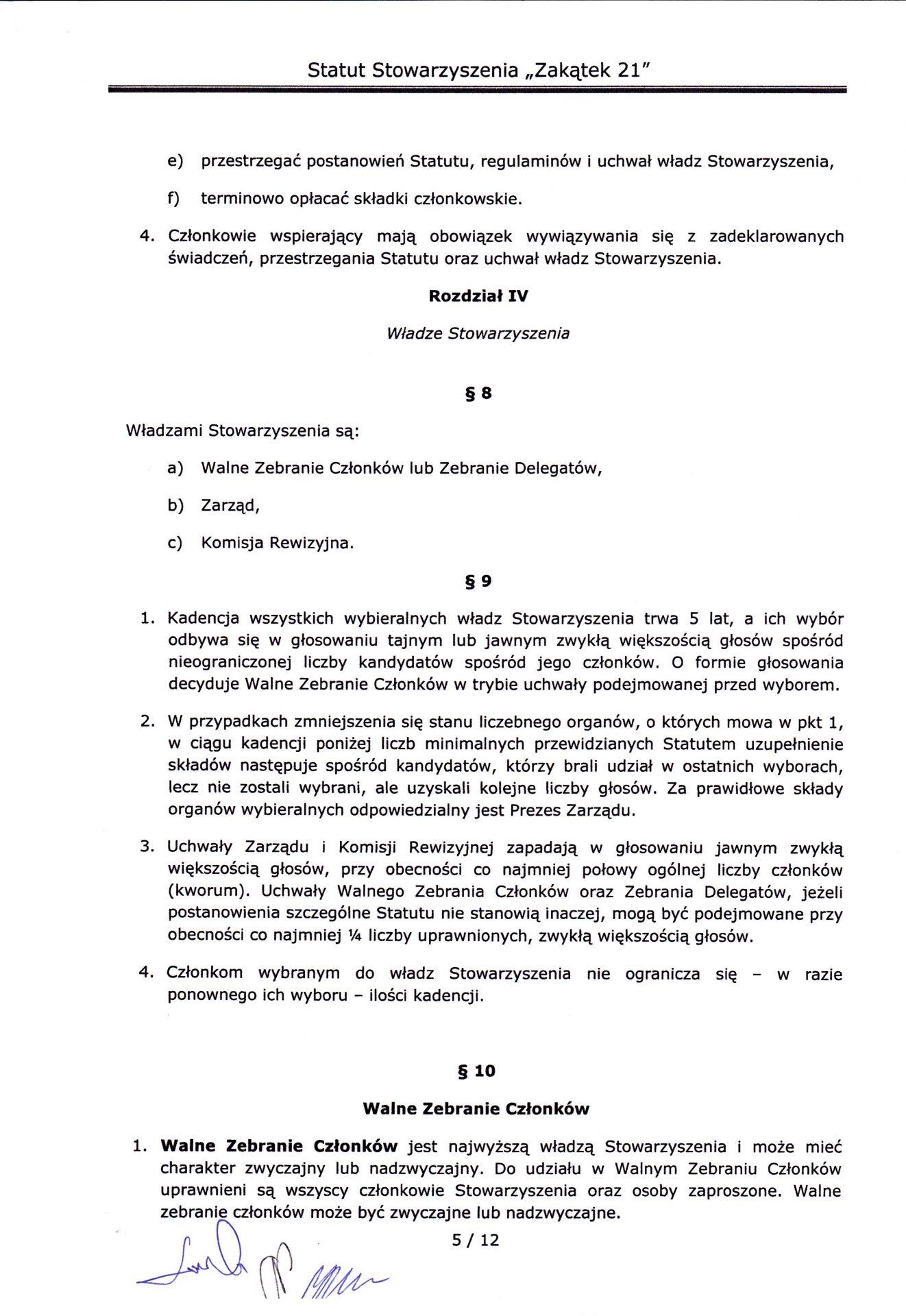 strona piąta statutu