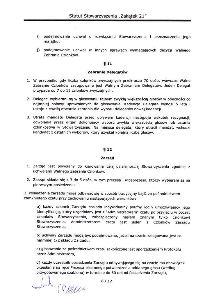 strona ósma statutu