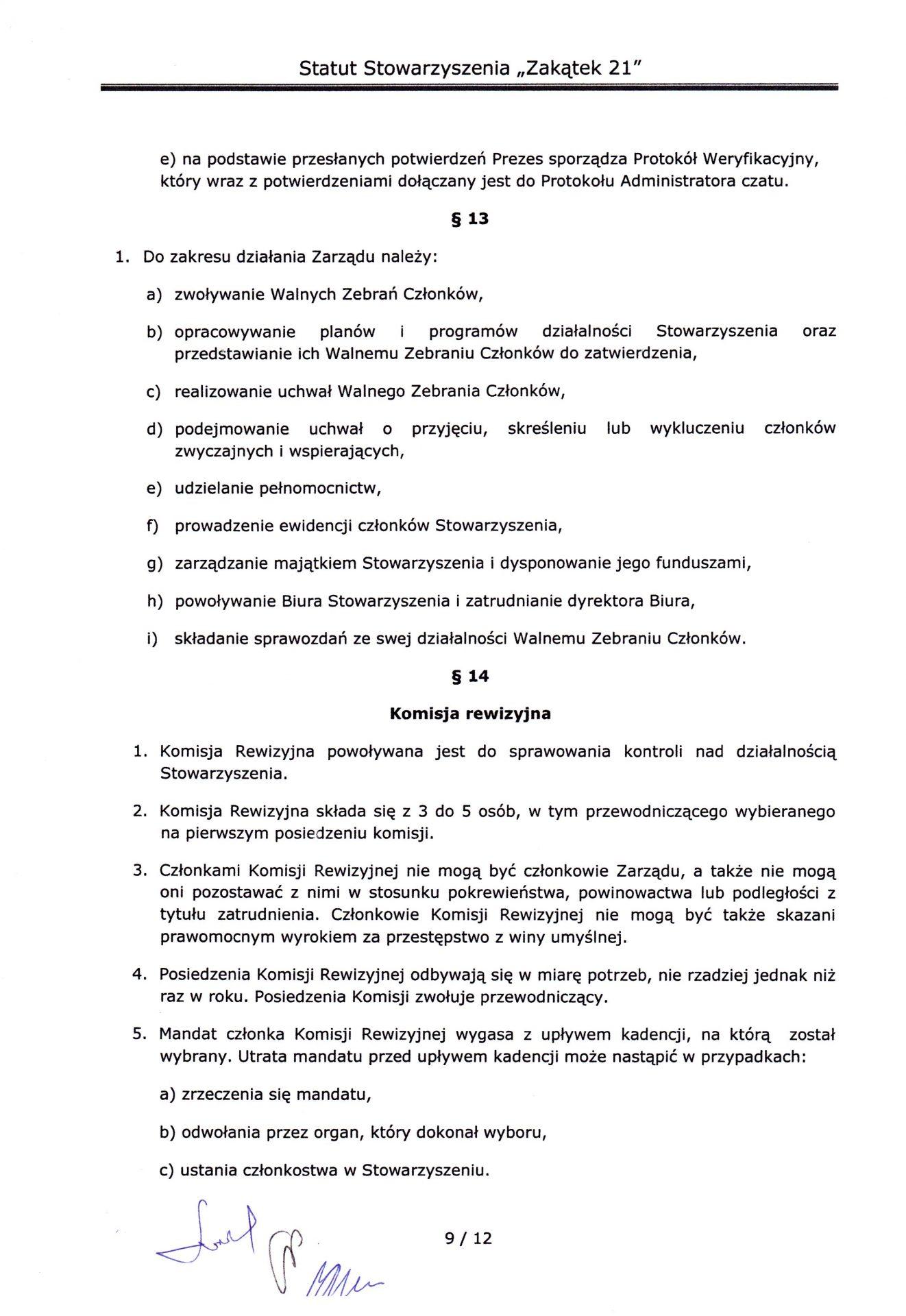 strona dziewiąta statutu