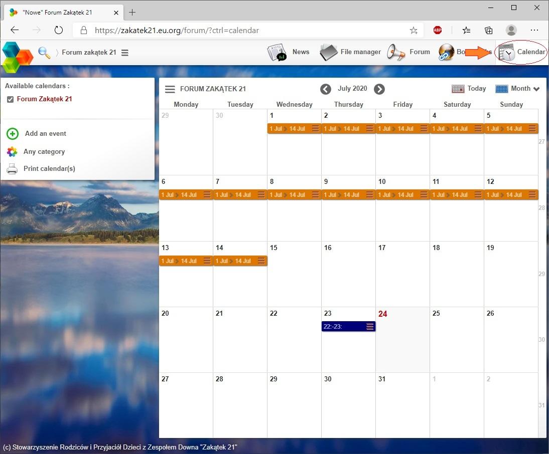 Ekran kalendarza